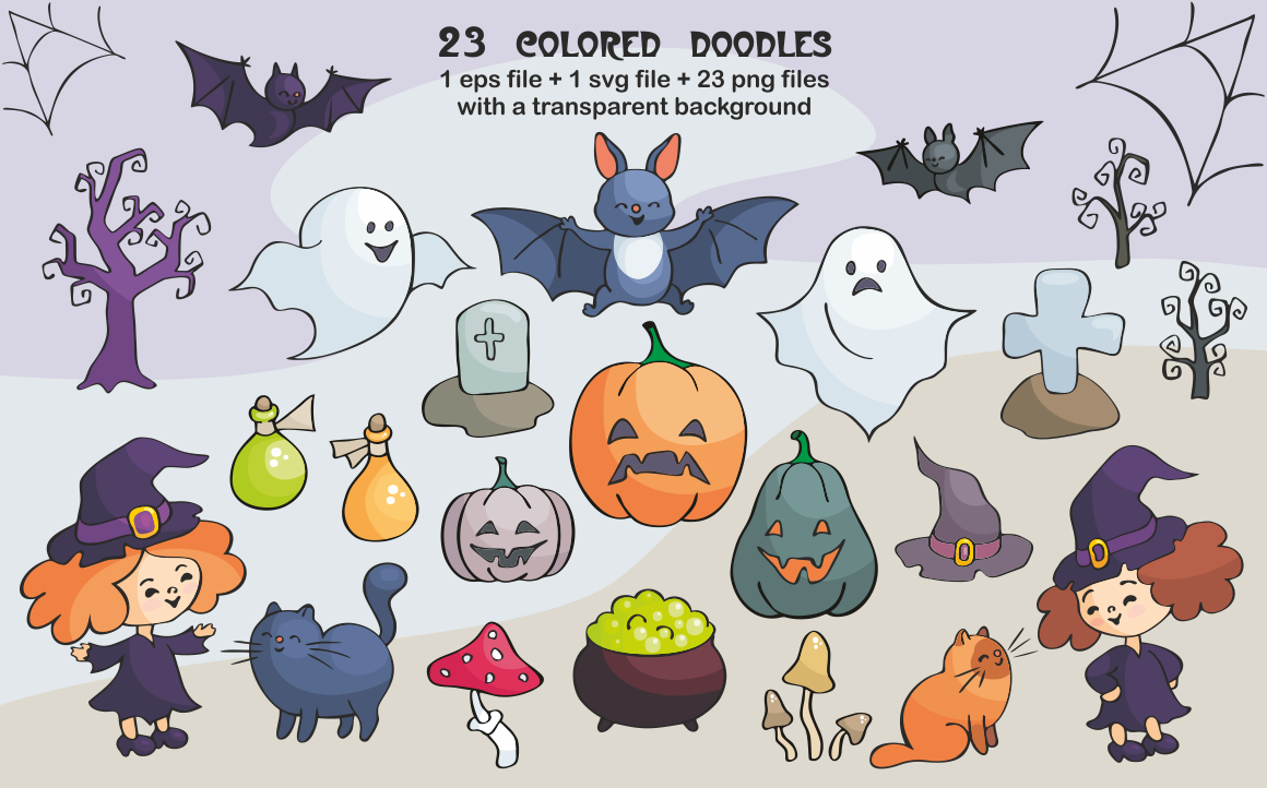 Halloween Doodles Set Vector Clip Arts And Seamless Patterns By