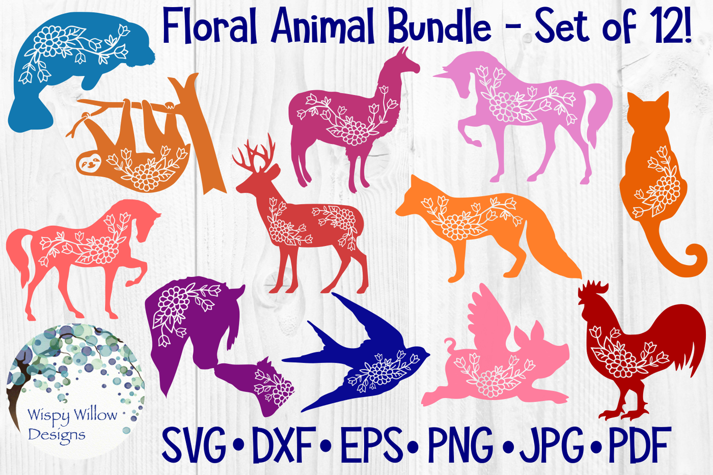 Floral Animal Bundle Svg Cut Files By Wispy Willow Designs