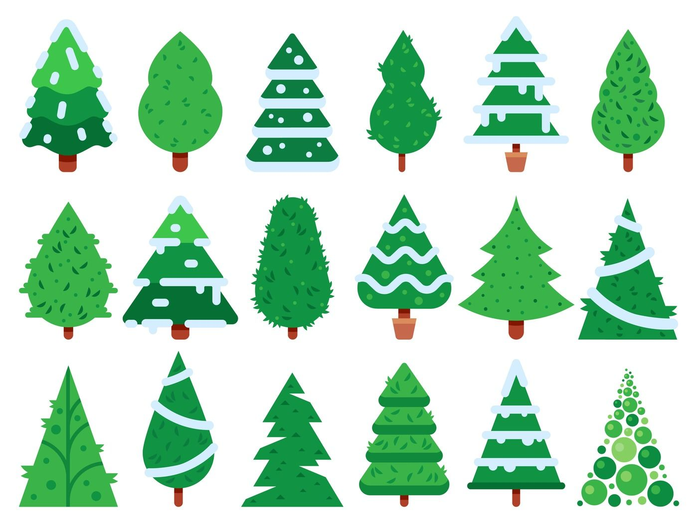 Green Christmas Tree Simple Xmas Trees Shape Nature Fir Isolated