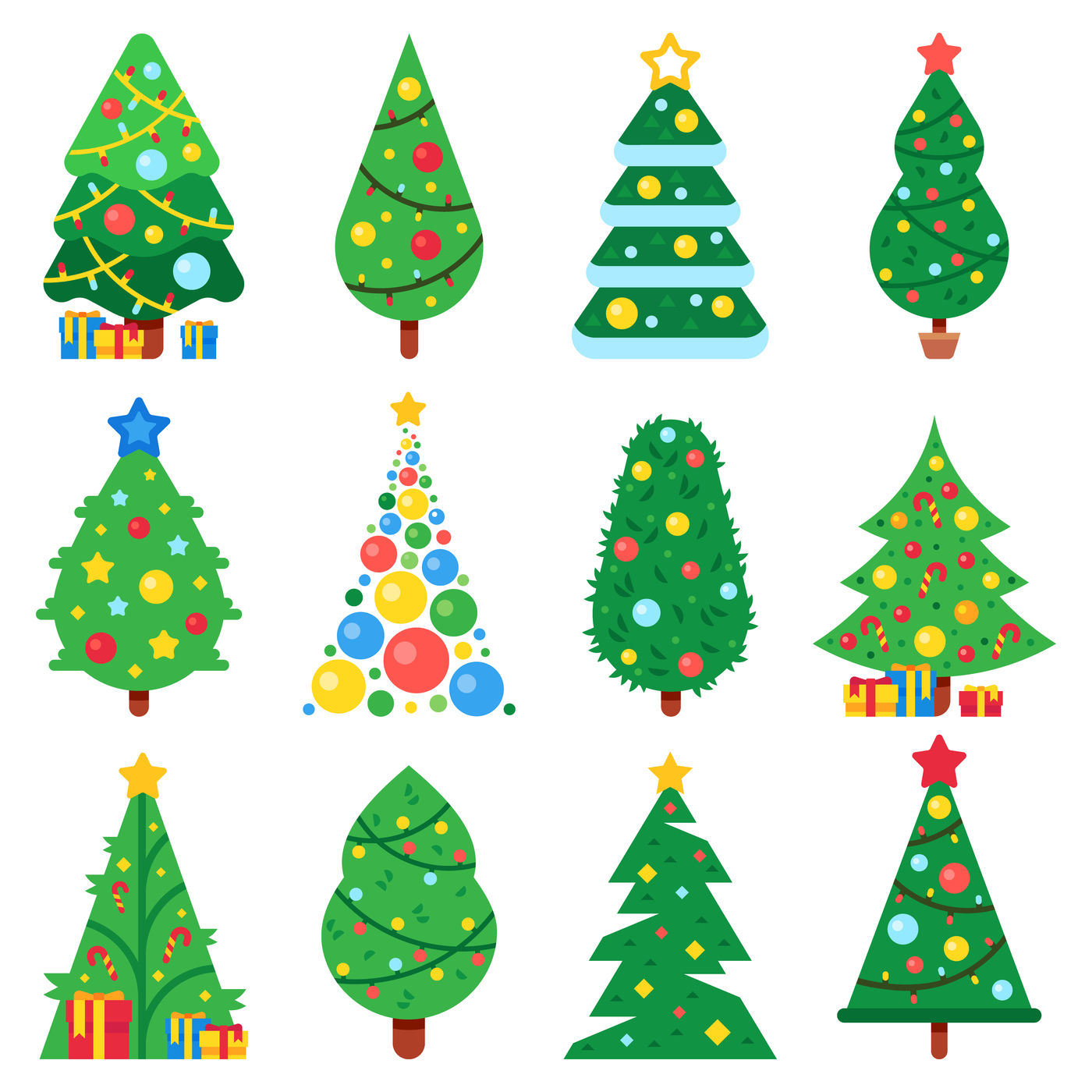 Flat Paper Christmas Tree Winter Holidays Trees Decorated Star