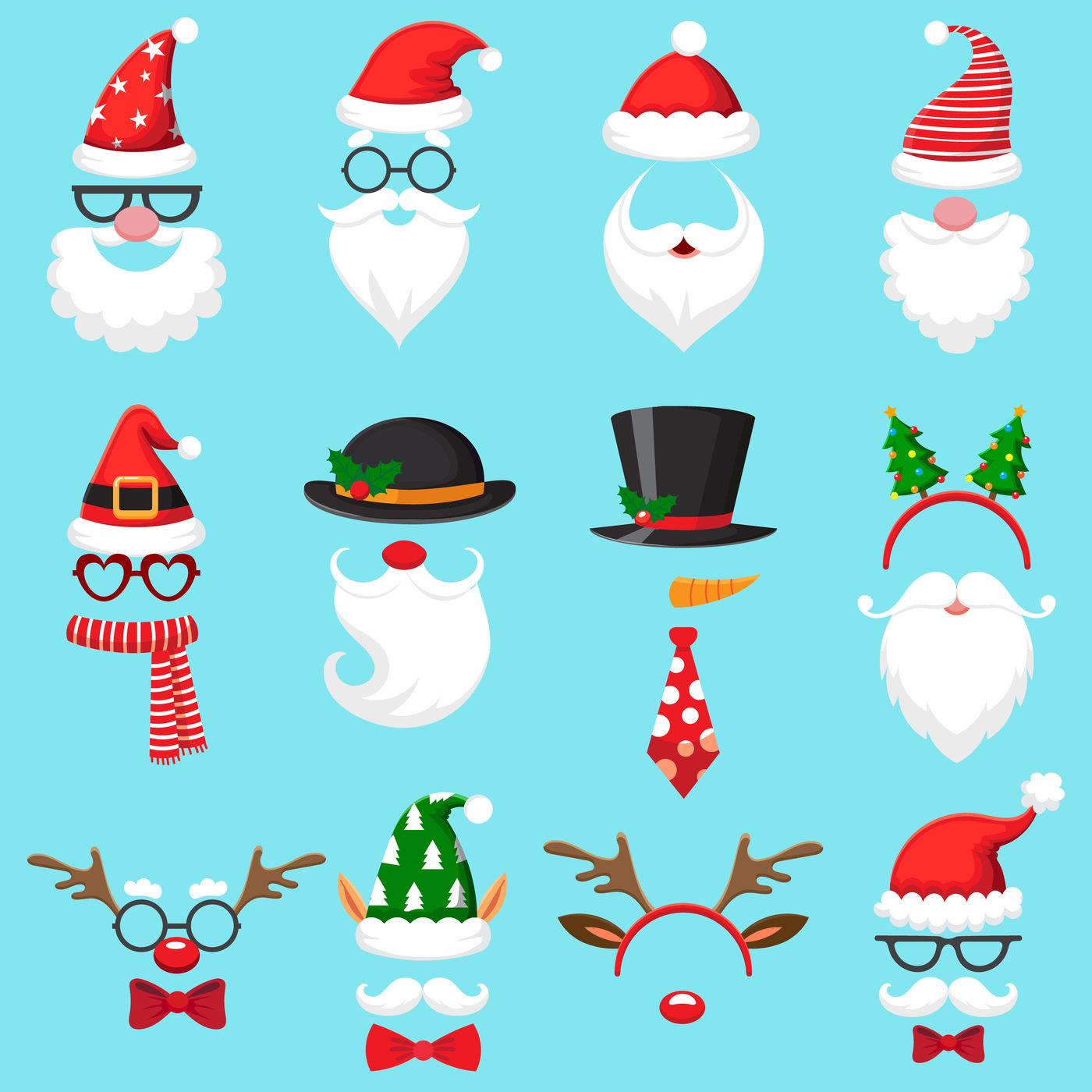 Christmas Cartoon Hats Xmas Santa Hat Elf Cap And Reindeer Photo