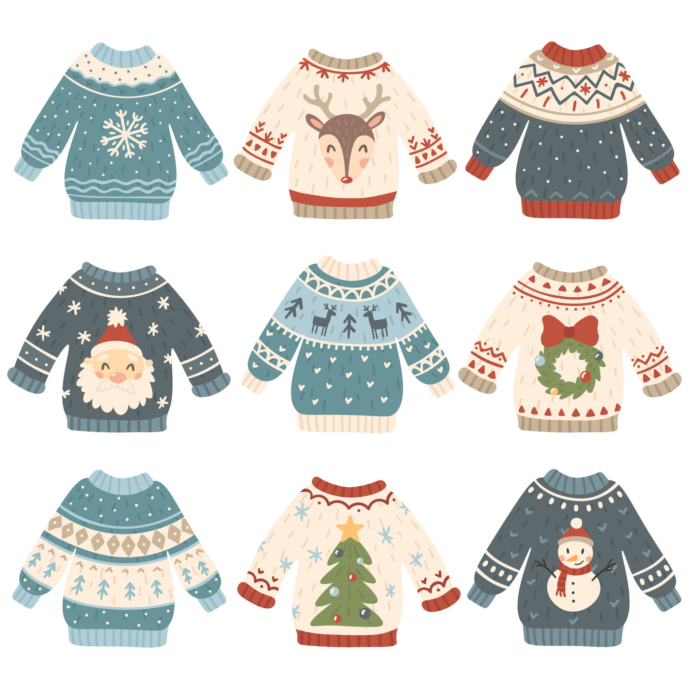Ugly Christmas Sweaters Cartoon Cute Wool Jumper Knitted Winter