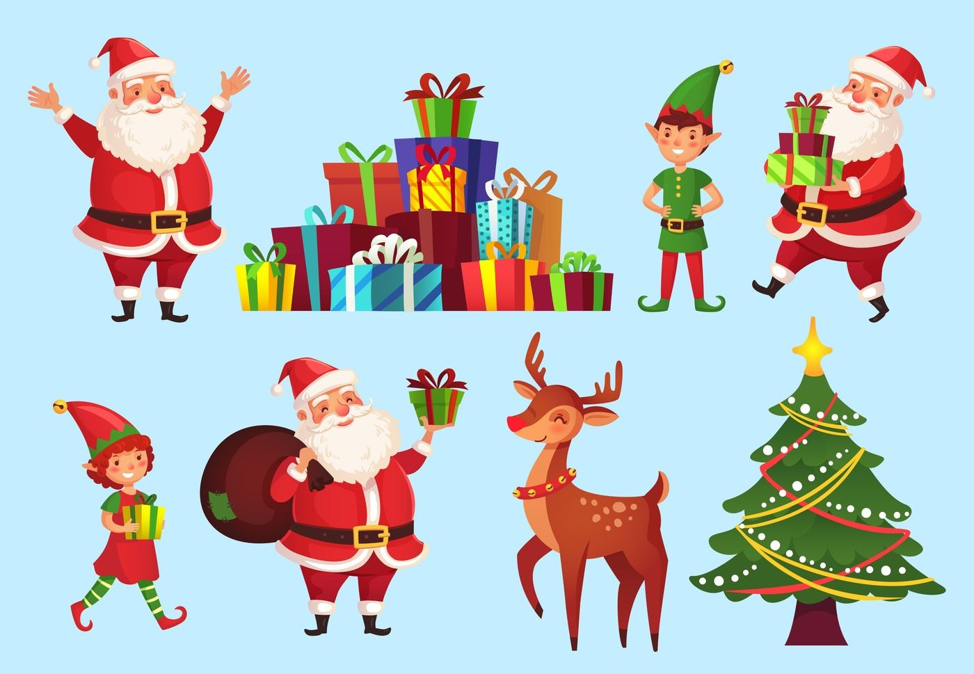 Cartoon Christmas Characters Xmas Tree With Santa Claus Gifts
