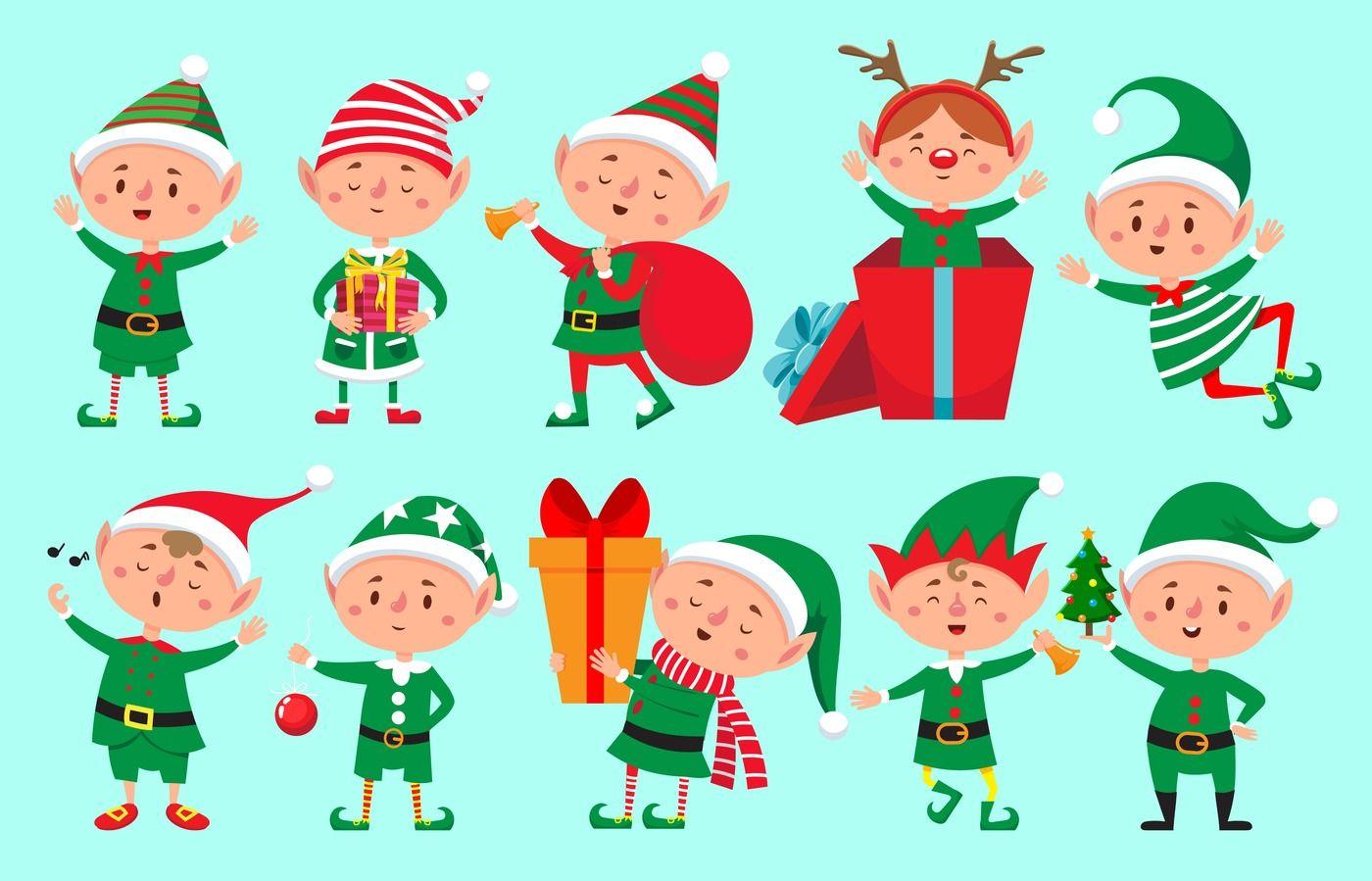 Christmas Elf Character Santa Claus Helpers Cartoon Cute Dwarf