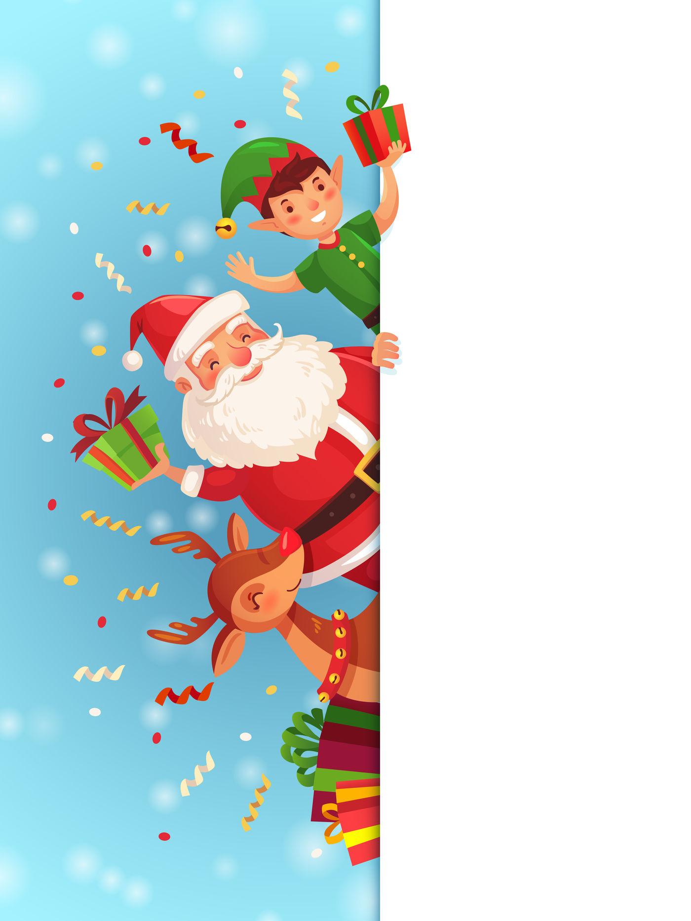 Christmas Cartoon Characters Santa Claus Xmas Elf Character And