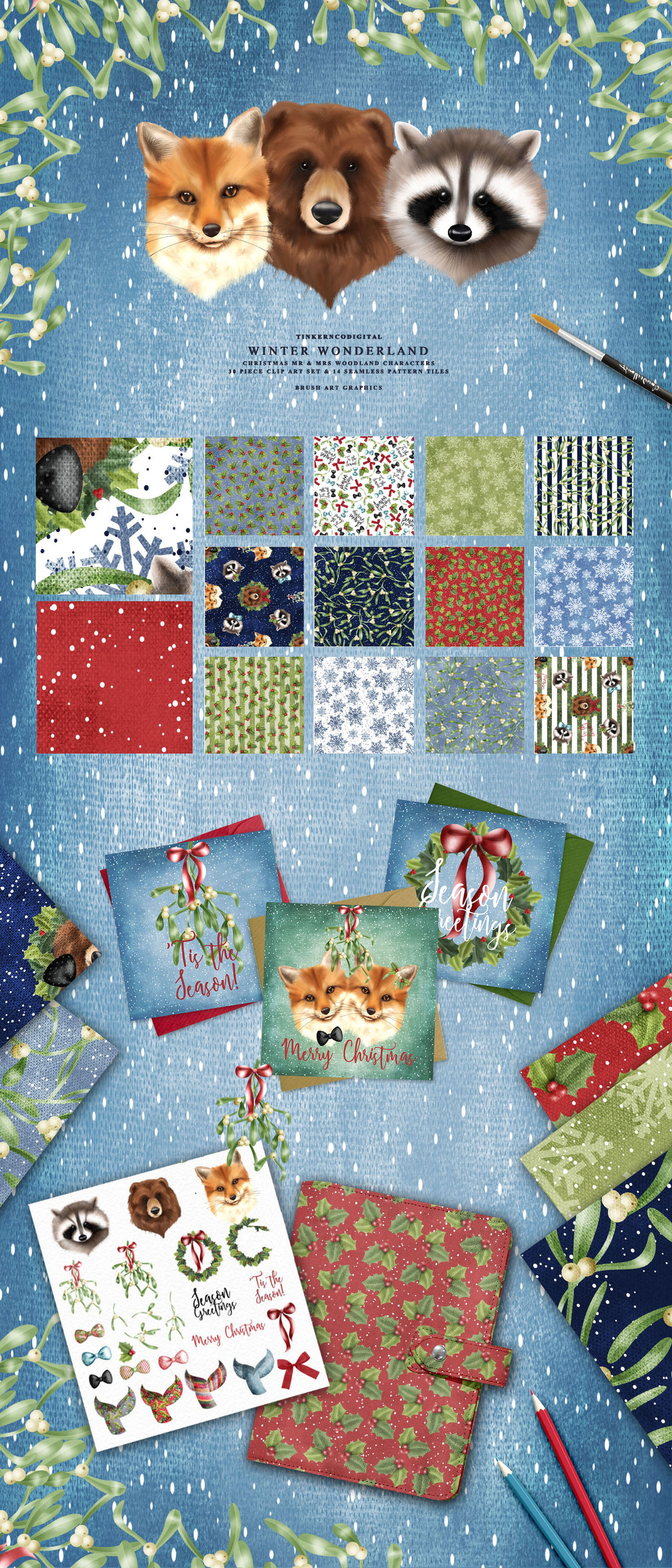 Christmas Woodland Clipart Patterns By Tinkerncodigital