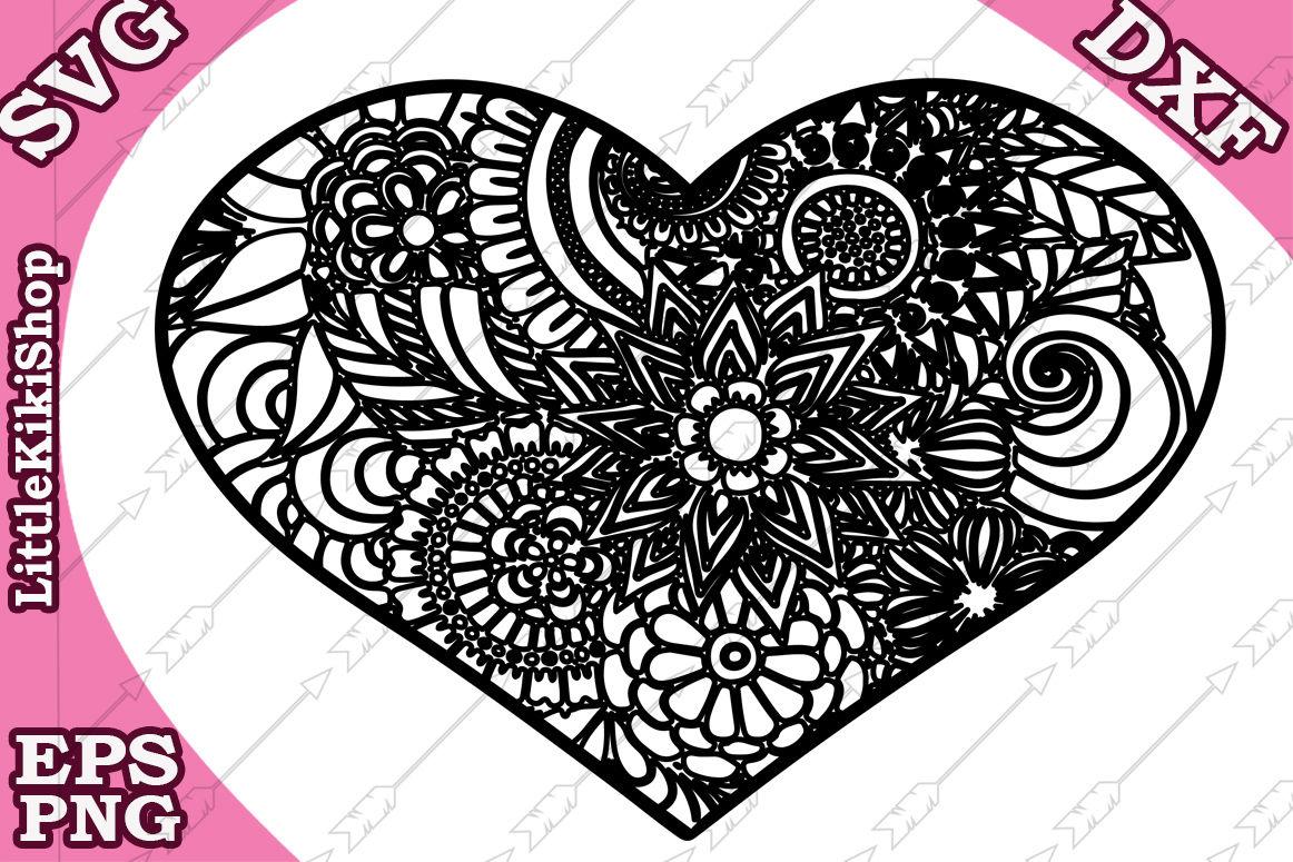 Zentangle Heart Svg Mandala Heart Svg Zentangle Heart Cut By
