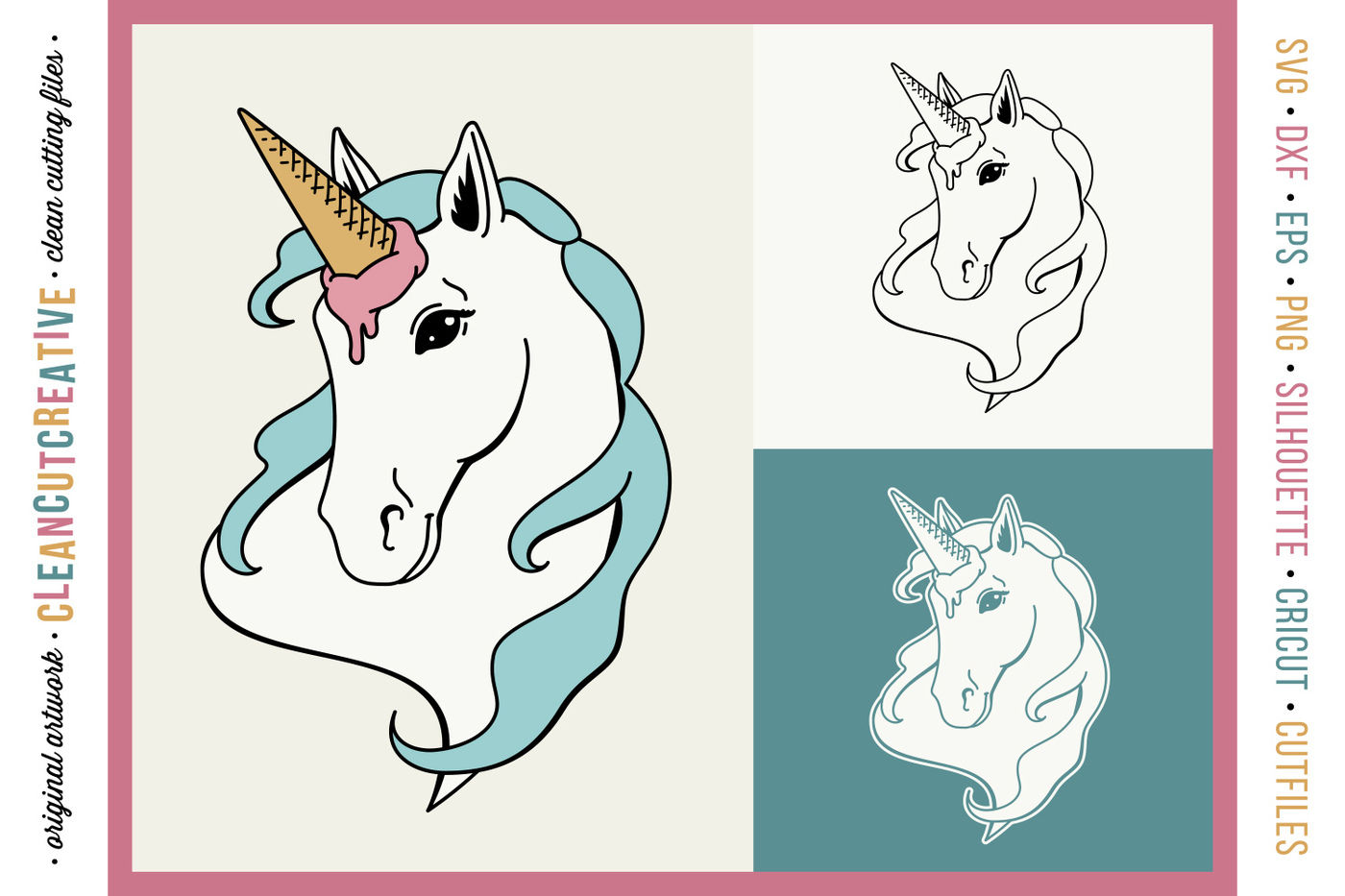 Funny Unicorn Ice Cream Horse Original Cut File Design Svg Dxf