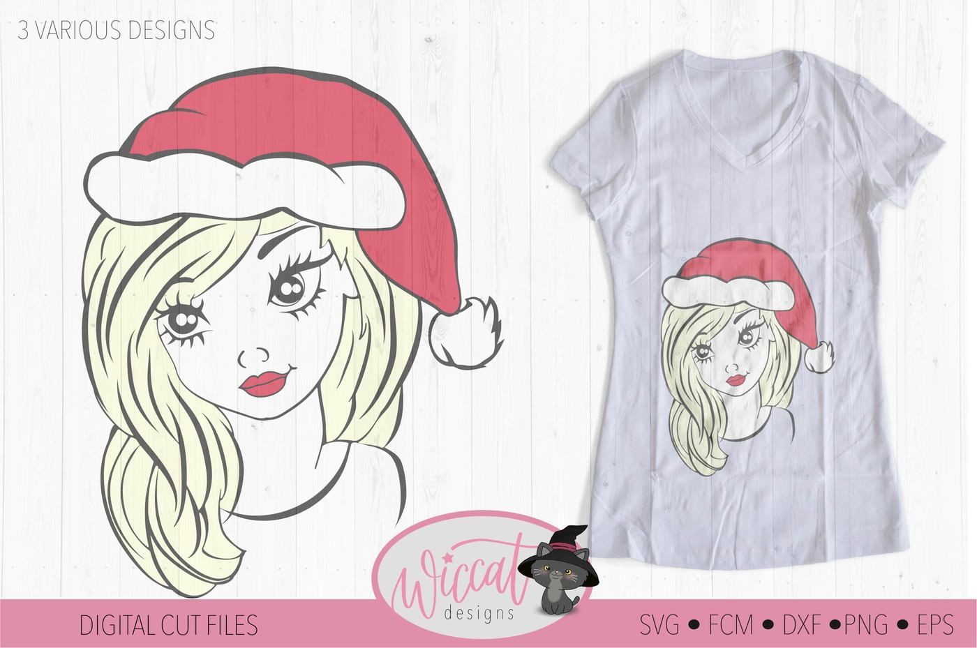 Christmas Girl With Hat Svg Teen Svg Christmas Files Face Svg