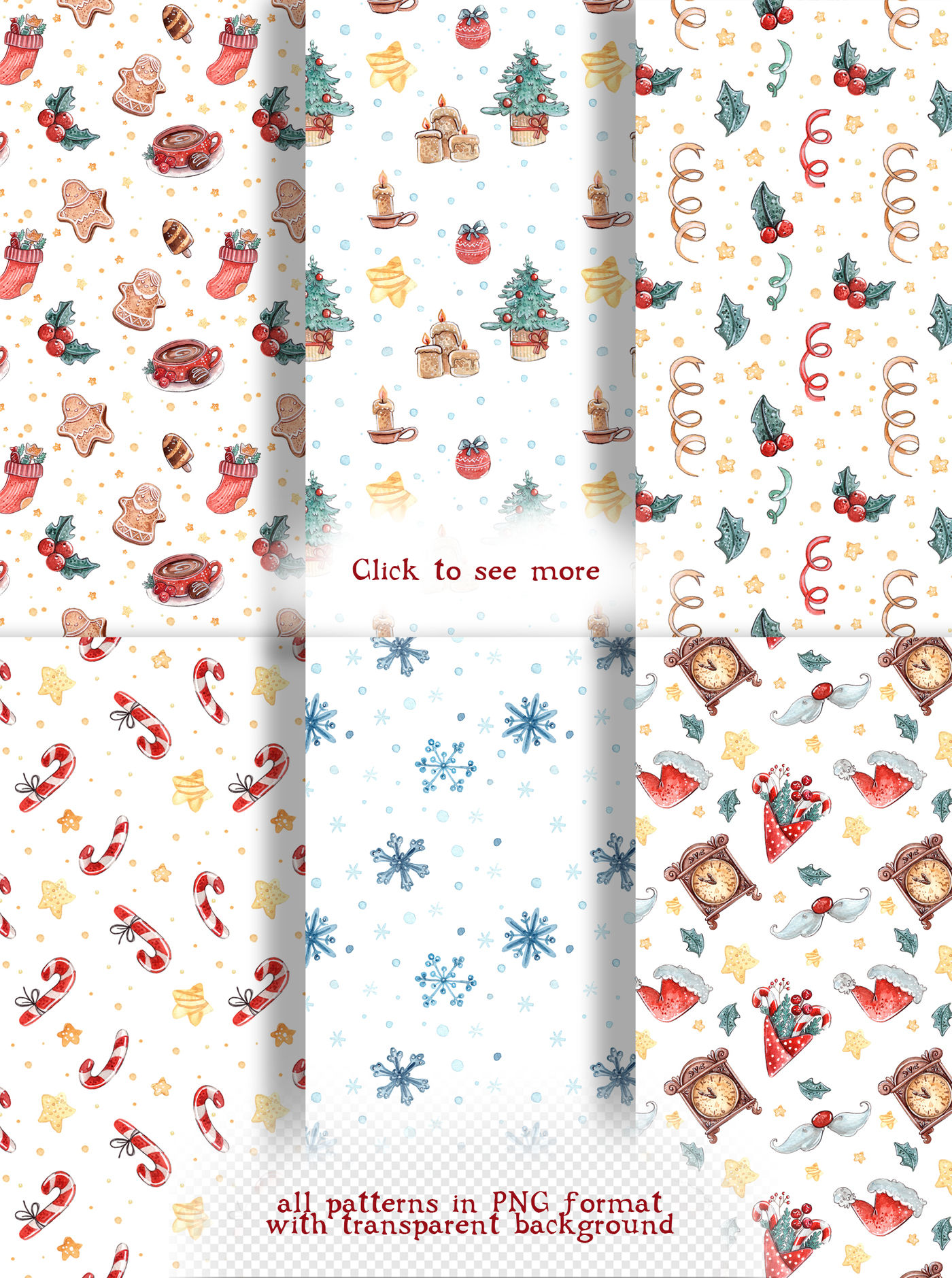 Happy Christmas Set 6 Patterns By Kristina Crocus Thehungryjpeg Com