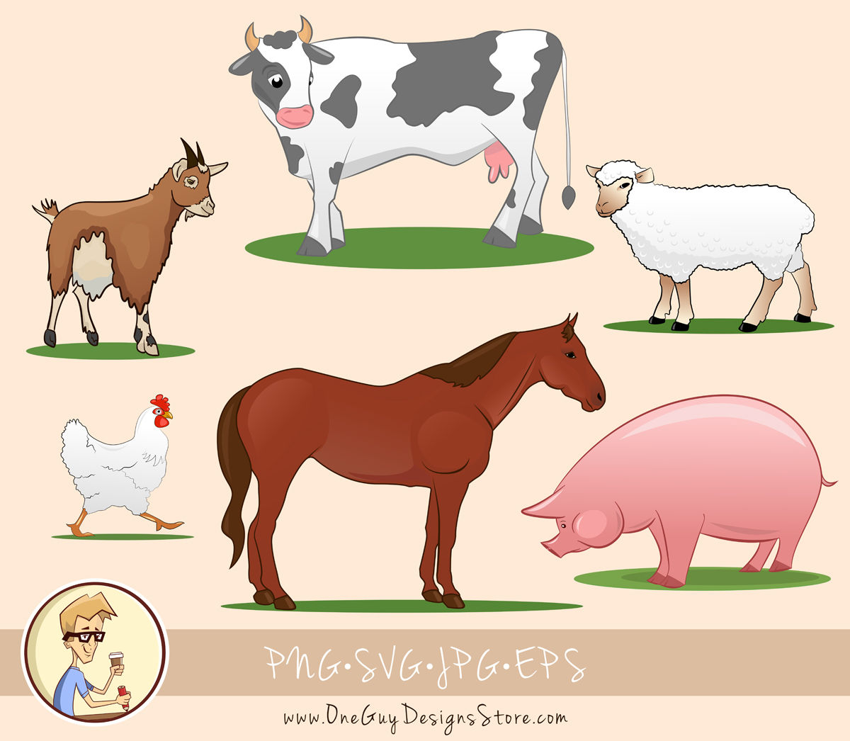 Pretty Farm Animals Clipart Set Clip Art Svg Png File By