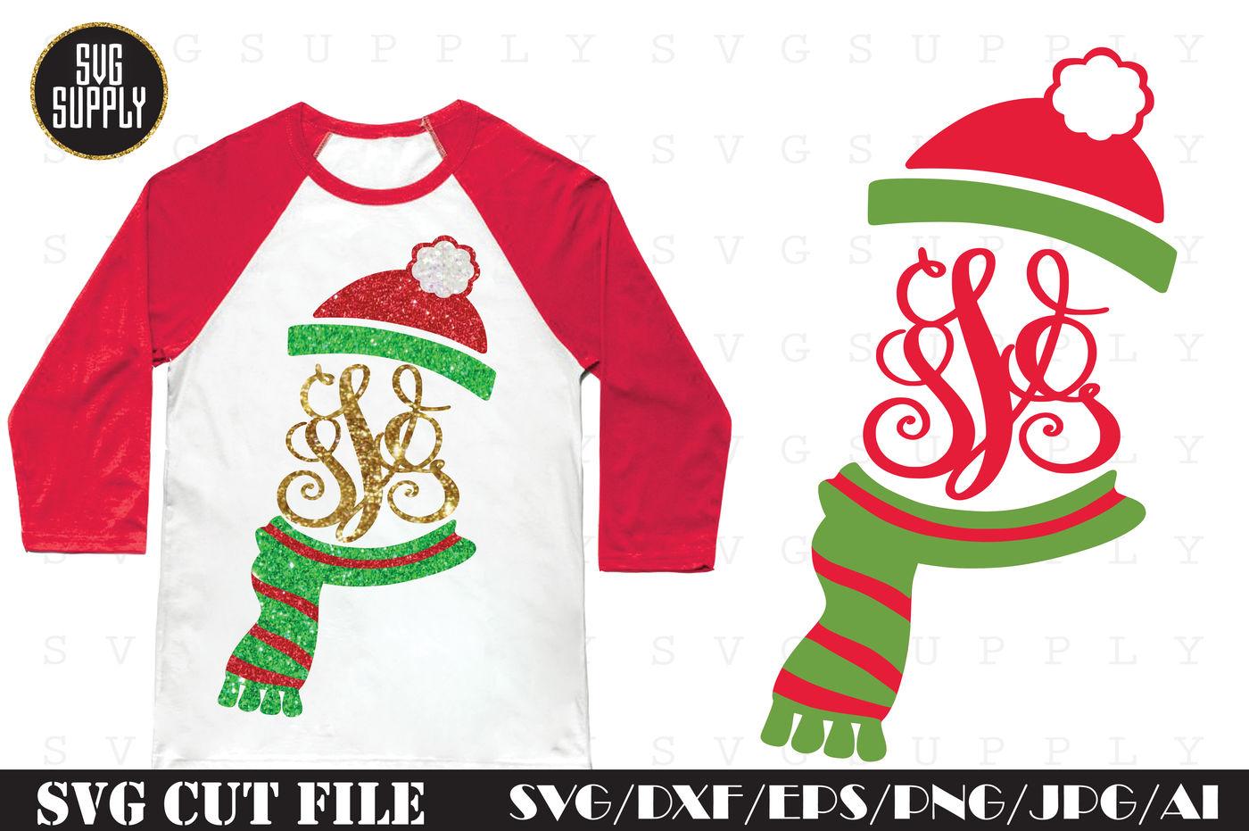 Christmas Hat Monogram Svg Cut File By Svgsupply Thehungryjpeg Com