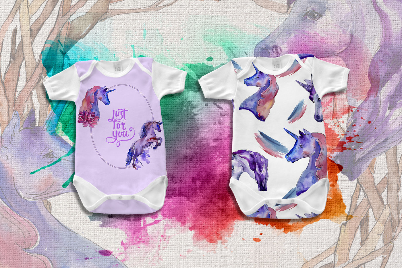 Colorful Unicorn Horse Png Watercolor Set By Mystocks