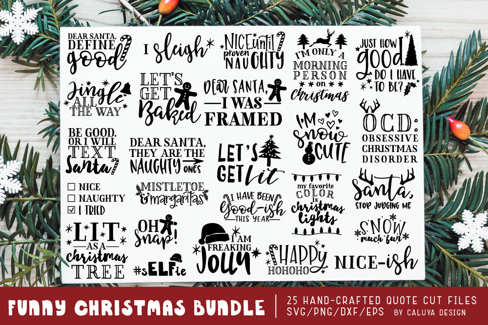 Funny Christmas Phrases Svg Cut File Bundle By Caluya Design