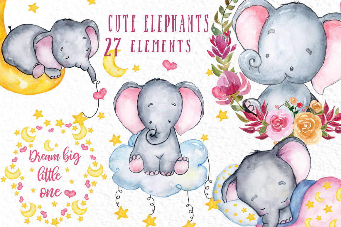 Cute Elephant clipart, WATERCOLOR ANIMALS, Baby shower ...