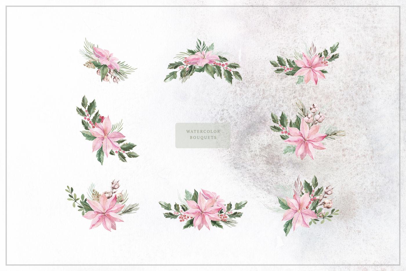 Watercolor Christmas Plants By Spasibenko Art Thehungryjpeg Com