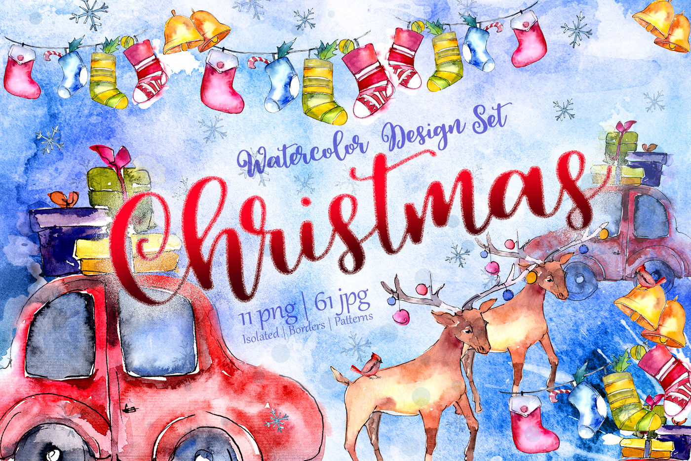Christmas Collection Png Watercolor Design Set By Mystocks