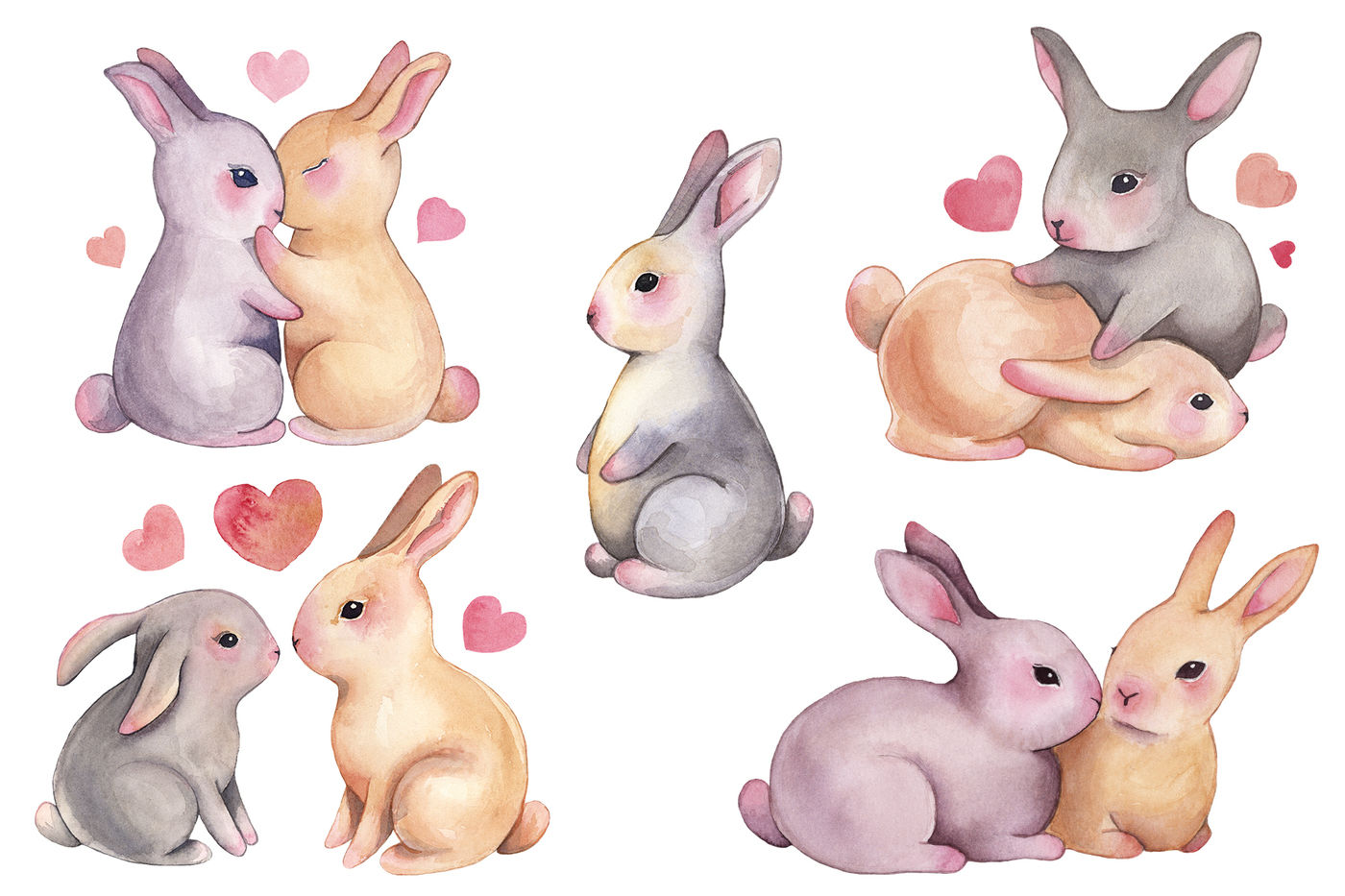 Watercolor Bunny Love Clipart By ColorDays | TheHungryJPEG.com
