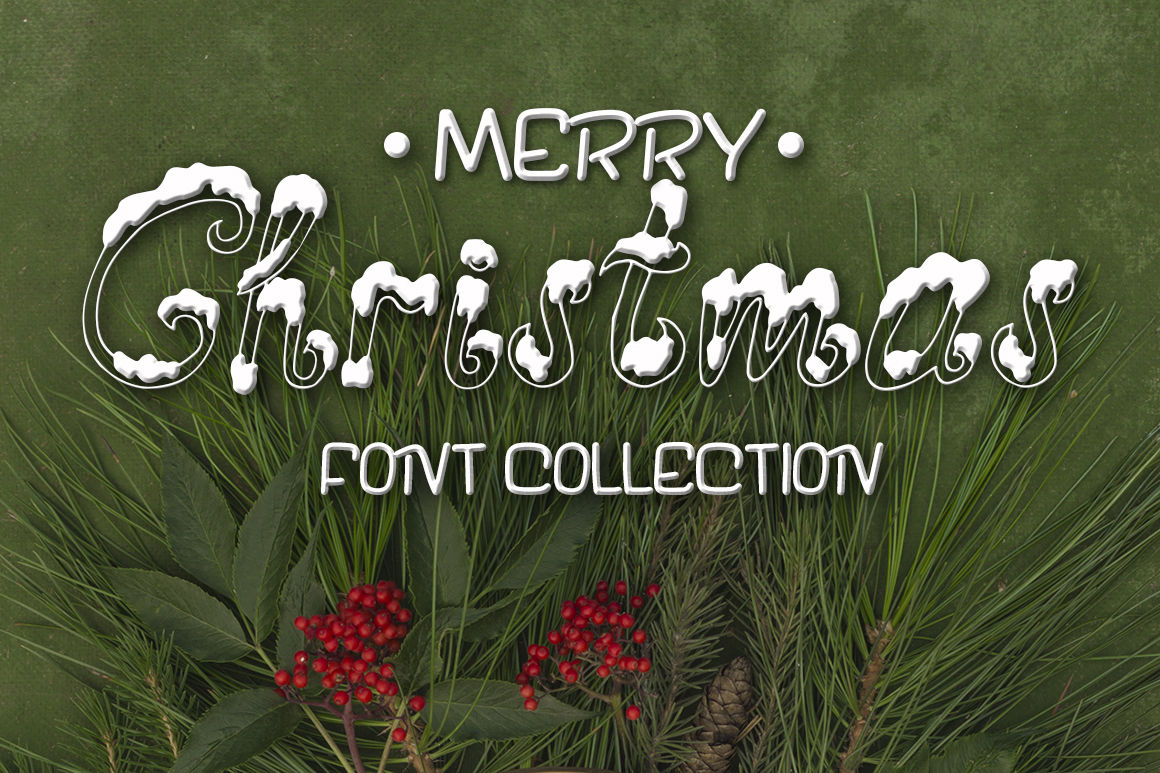 Three Fonts For Christmas Cards By Babii Design Thehungryjpeg Com