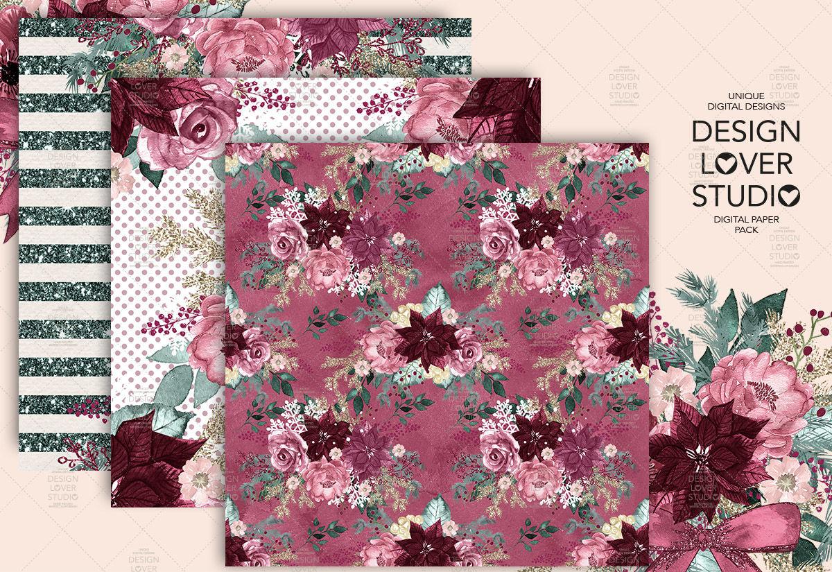 Burgundy Christmas Digital Paper Pack By Designloverstudio