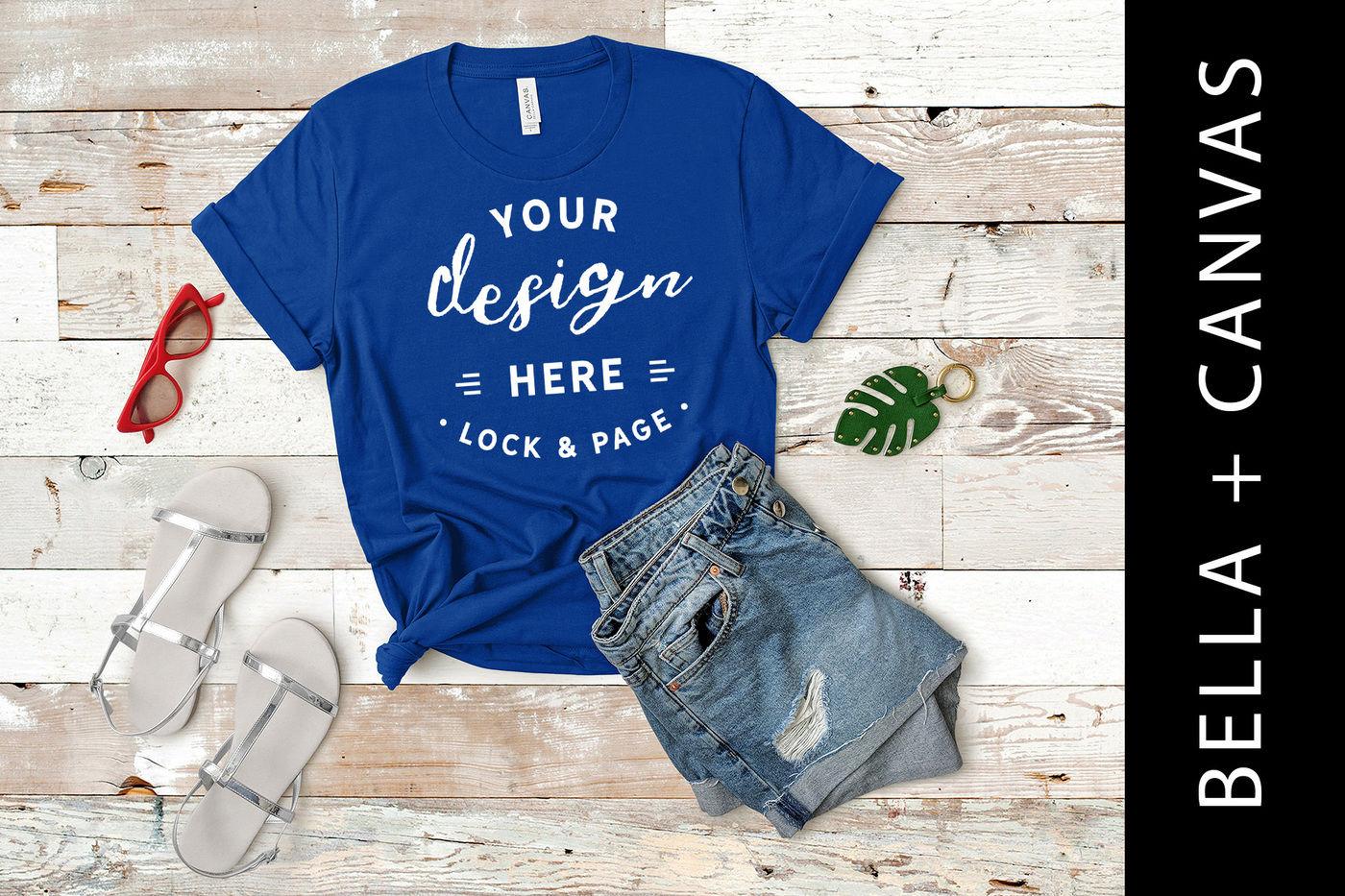 True Royal Bella Canvas 3001 T Shirt Mockup Blue T Shirt Flat Lay
