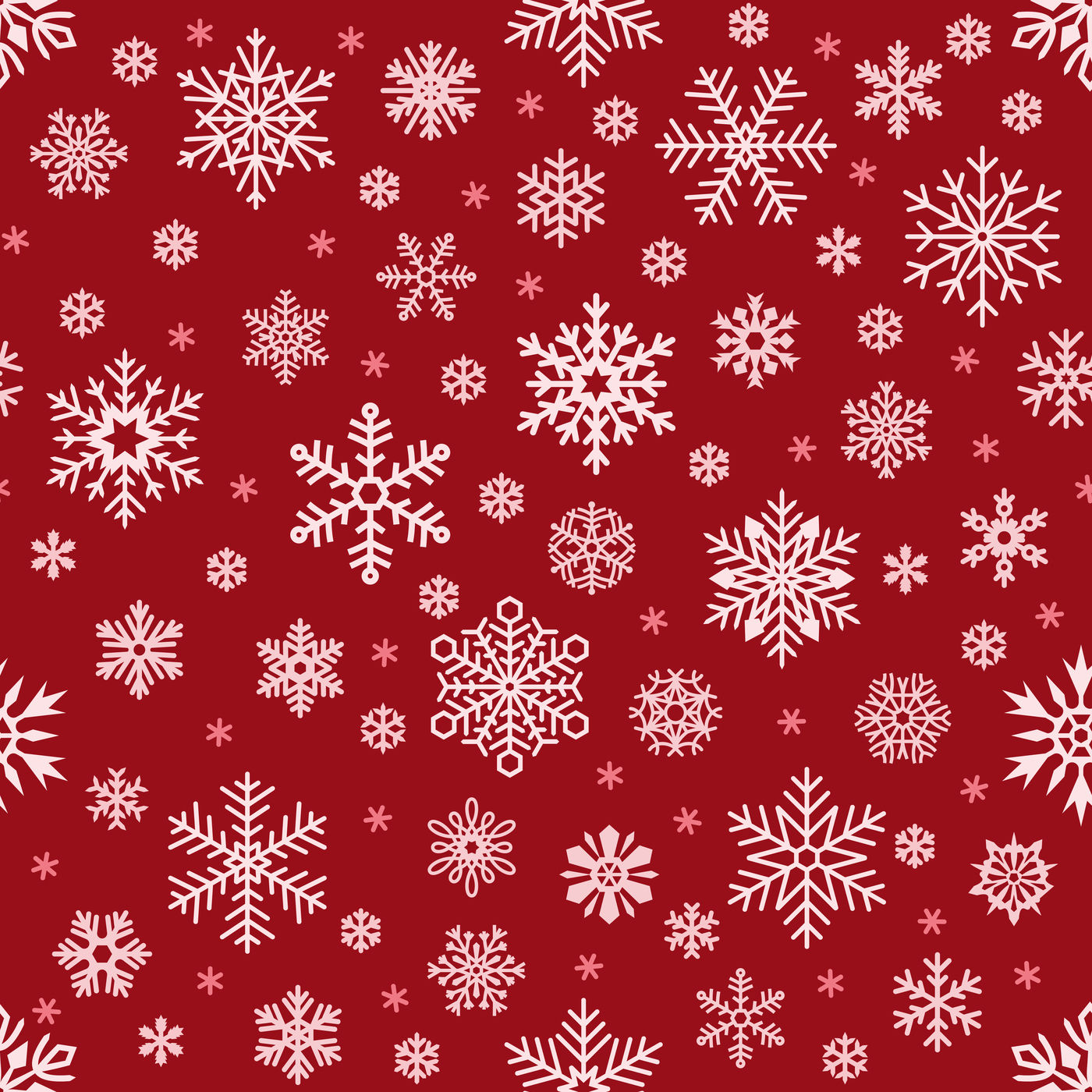 Snowflakes Pattern Christmas Falling Snowflake On Red Backdrop