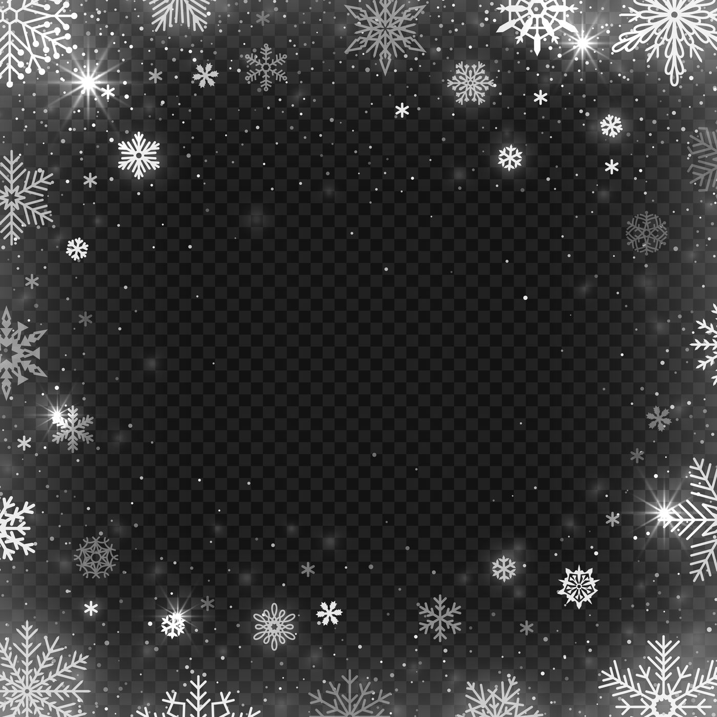 Snowflakes Frame Winter Snowed Border Frost Snowflake And