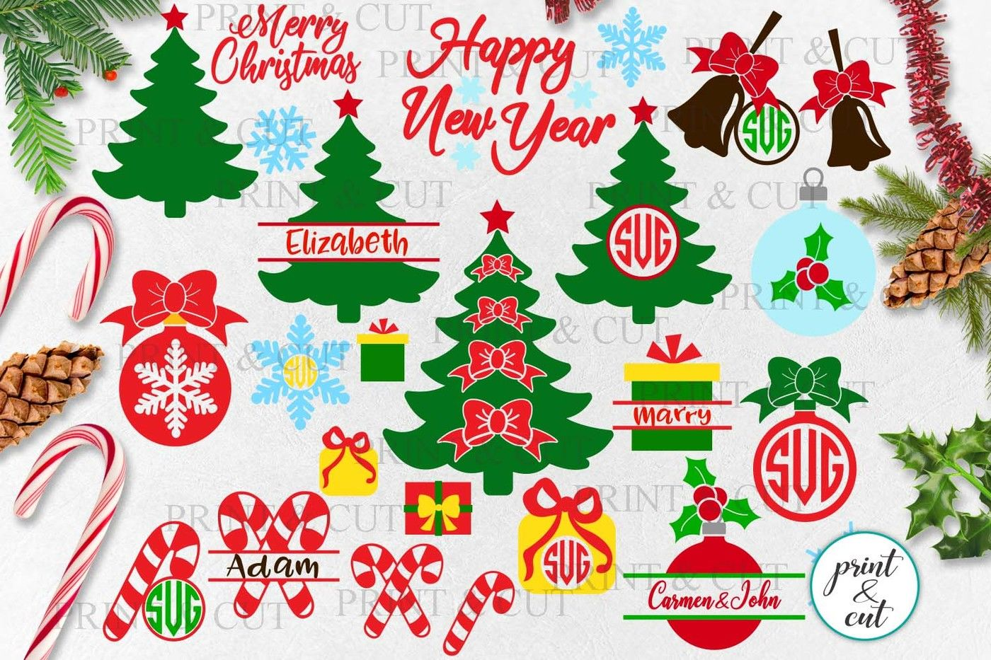 Christmas Elements Bundle Tree Baubles Bell Candy Cane Svg Dxf For