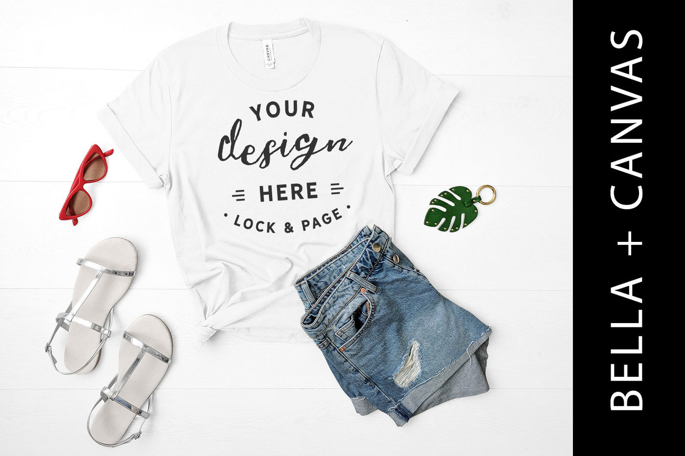 01535f0284a7c White Bella Canvas 3001 T Shirt Mockup Flat Lay Beach House Style By ...