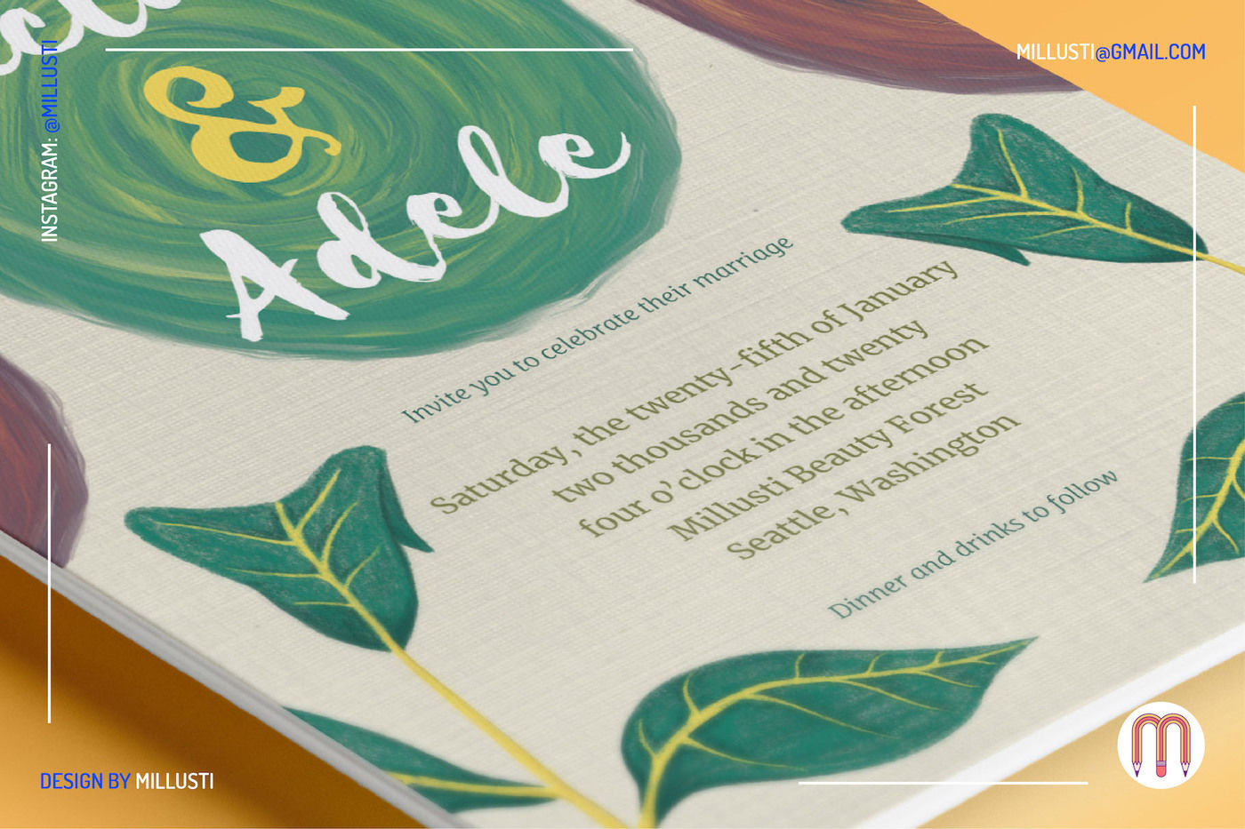 Natural Leaves Wedding Invitation By Millusti Thehungryjpeg Com