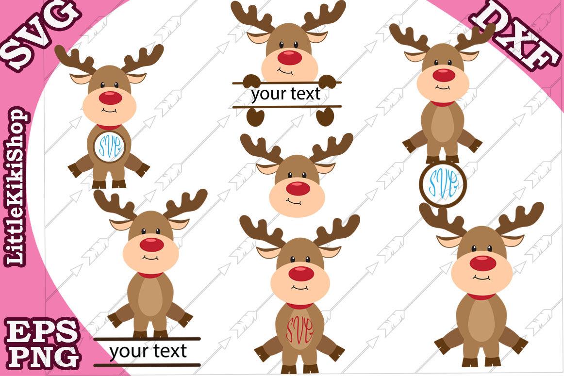 Reindeer Monogram Svg Cute Reindeer Svg Christmas Svg By
