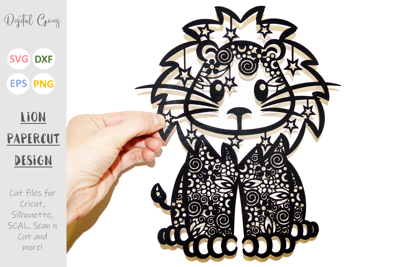 Lion Zentangle Svg Dxf Eps Png Files By Digital Gems