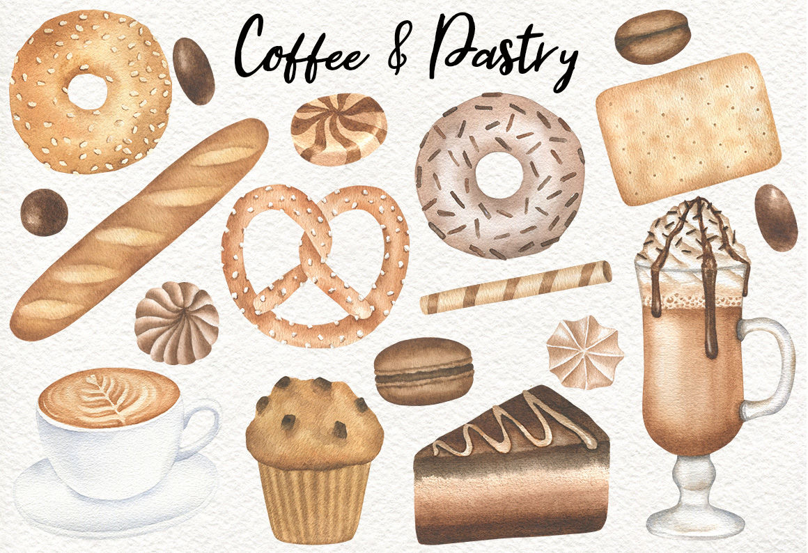 Coffee And Bakery Watercolor Clipart And Patterns Pastry Graphics By Kristywatercolor Thehungryjpeg Com