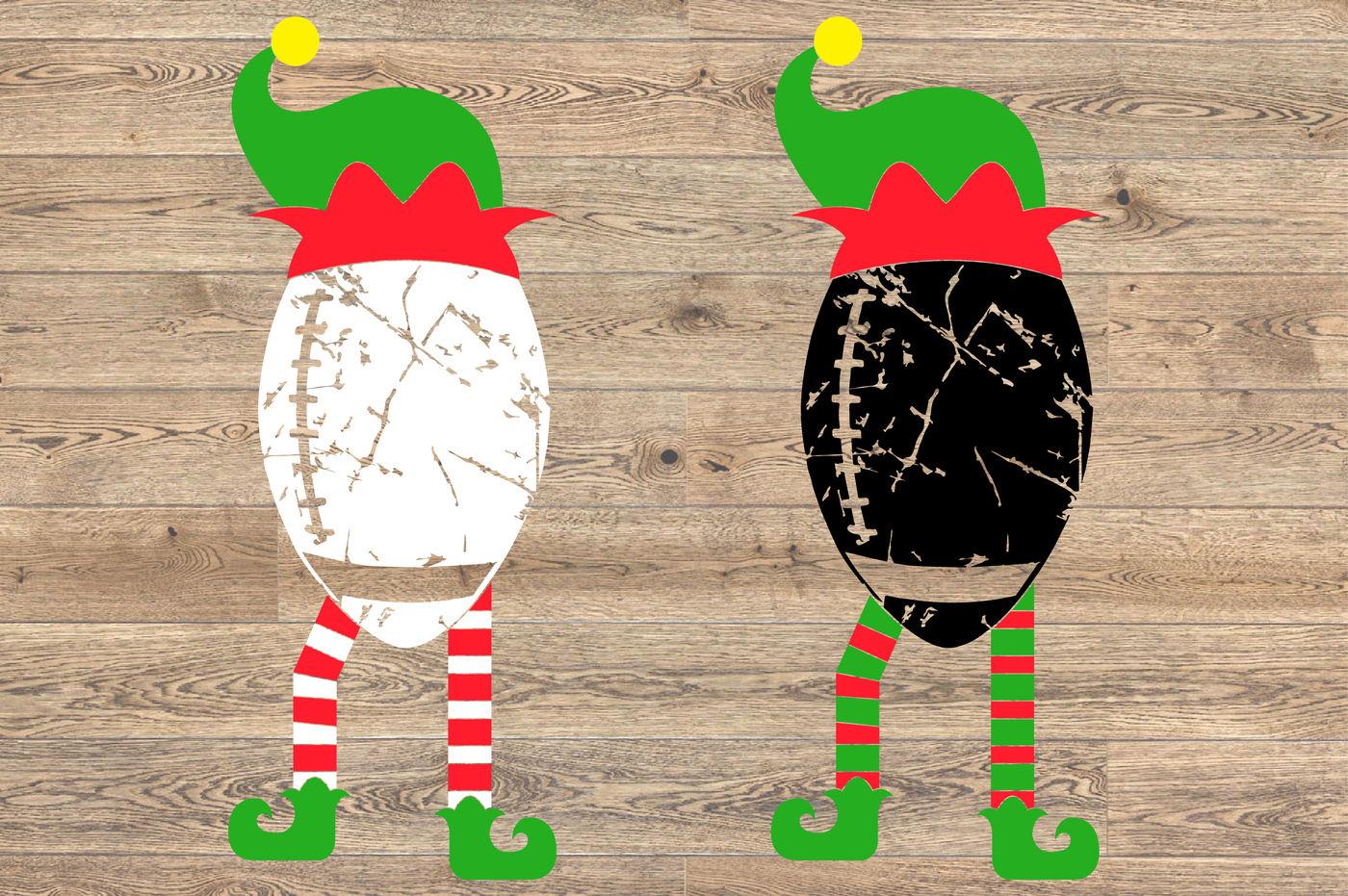 Elf Football Christmas Svg Santa Hat Tackle Merry Christmas Svg