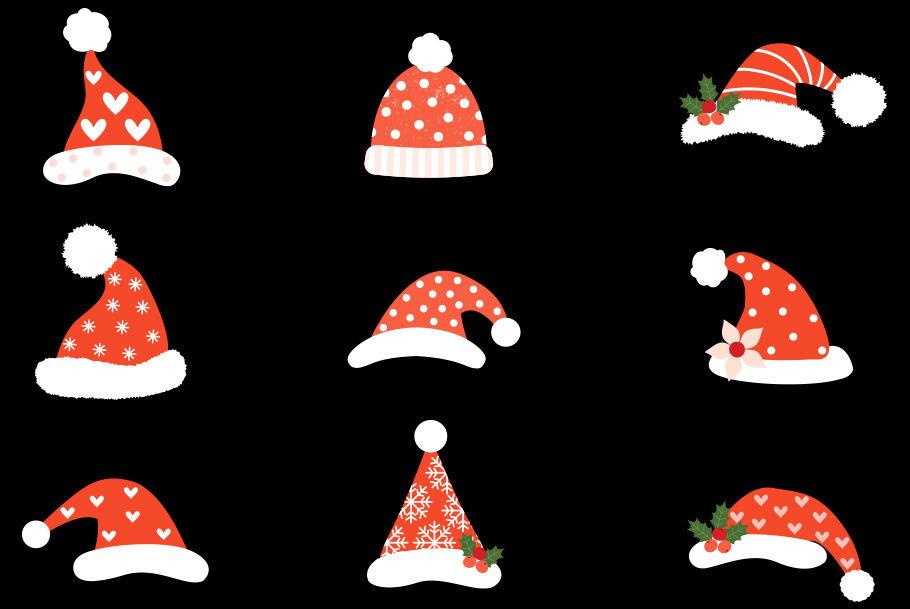 Hipster Santa Hats Clipart Cute Santa Claus Hat Clip Art
