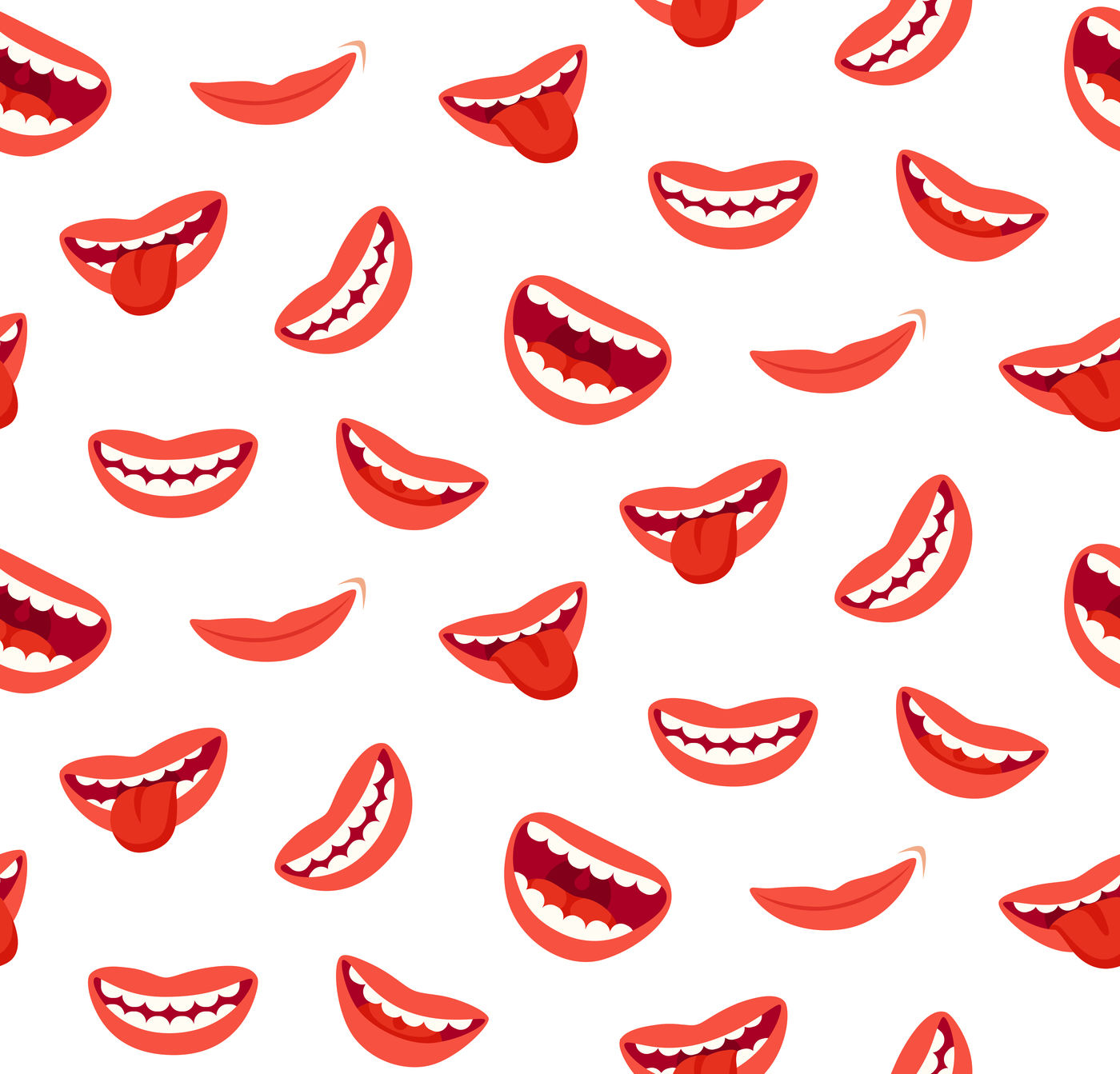 Cartoon Smiling Lips Seamless Pattern Laughing Mouth With Tongue