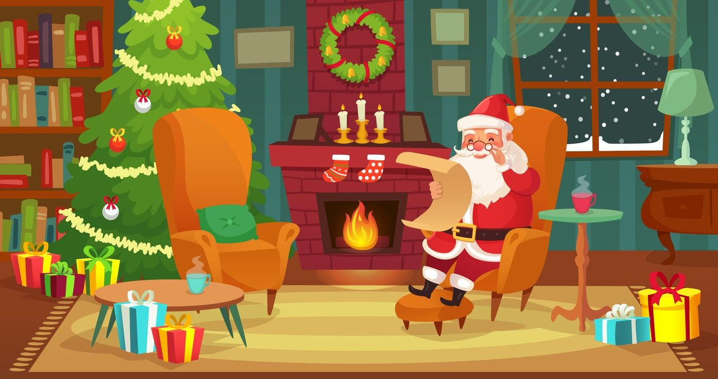 Christmas Interior Santa Claus Winter Holiday Decorated Living