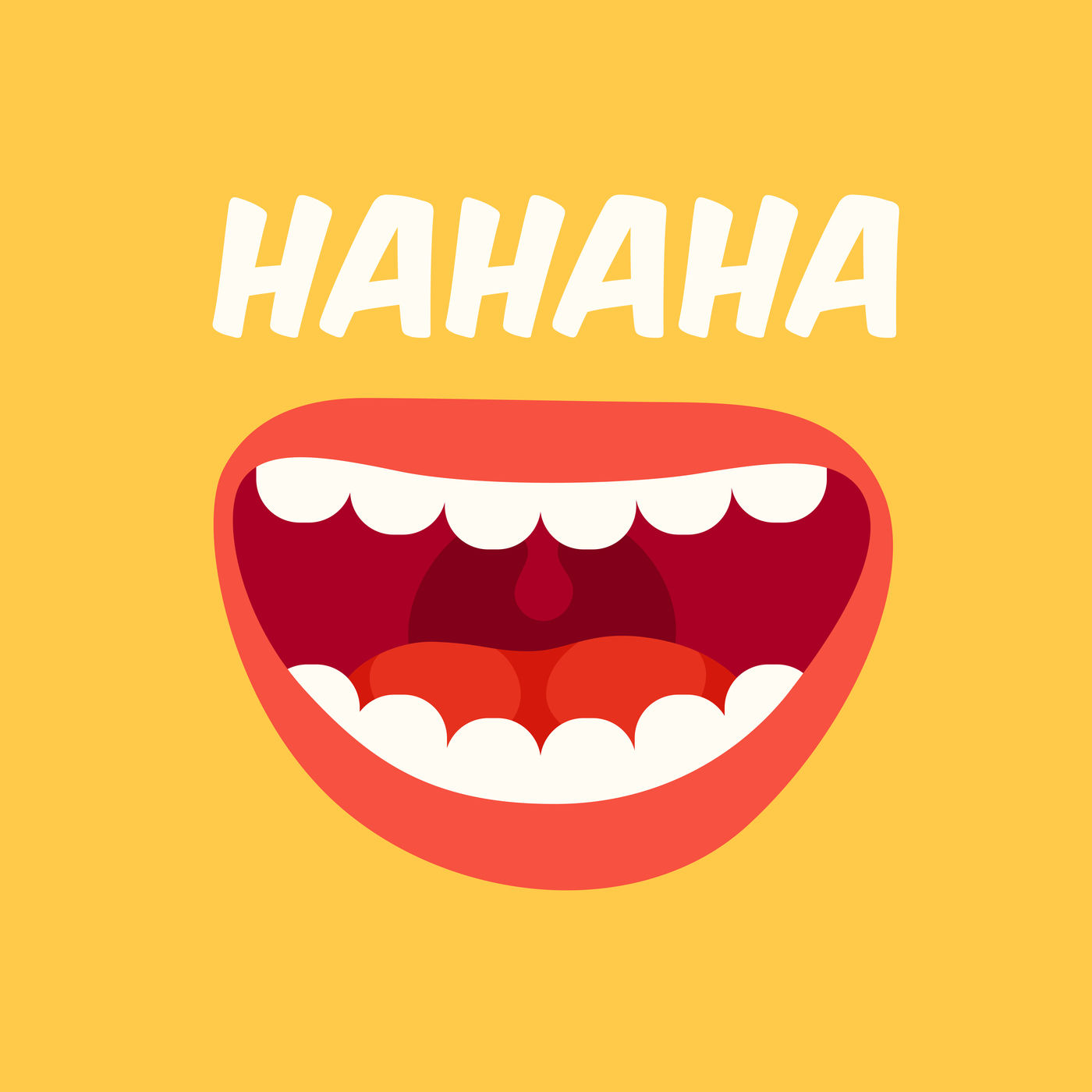 Laughing Mouth April Fools Day Loud Laugh And Lol Vector Yellow