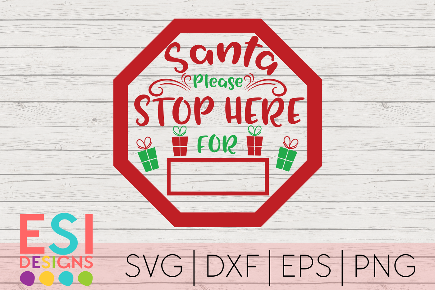 Christmas Svg Santa Please Stop Here Sign By Esi Designs