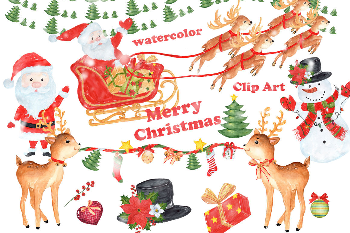 Bundle Watercolor Christmas Kids Clipart By Vivastarkids