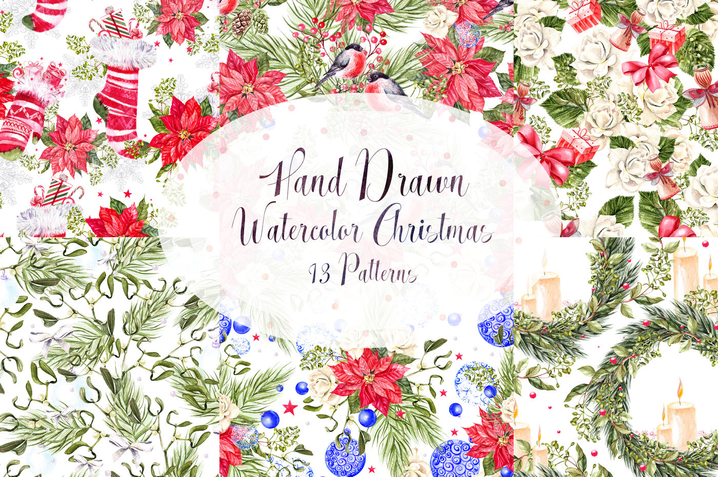 Hand Drawn Watercolor Christmas 13 Patterns By Knopazyzy Shop