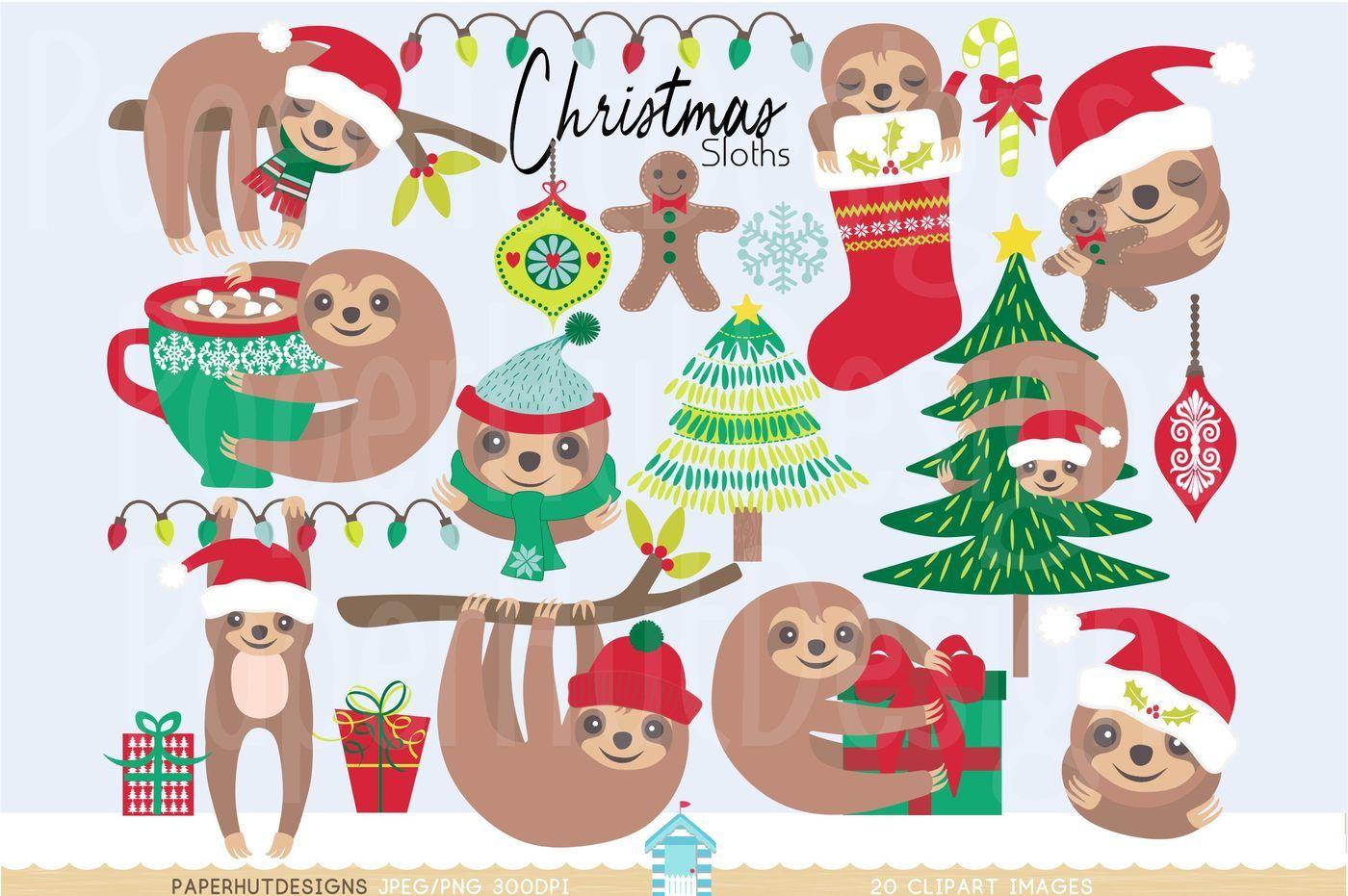 Christmas Clipart Sloth By Paperhutdesigns Thehungryjpeg Com