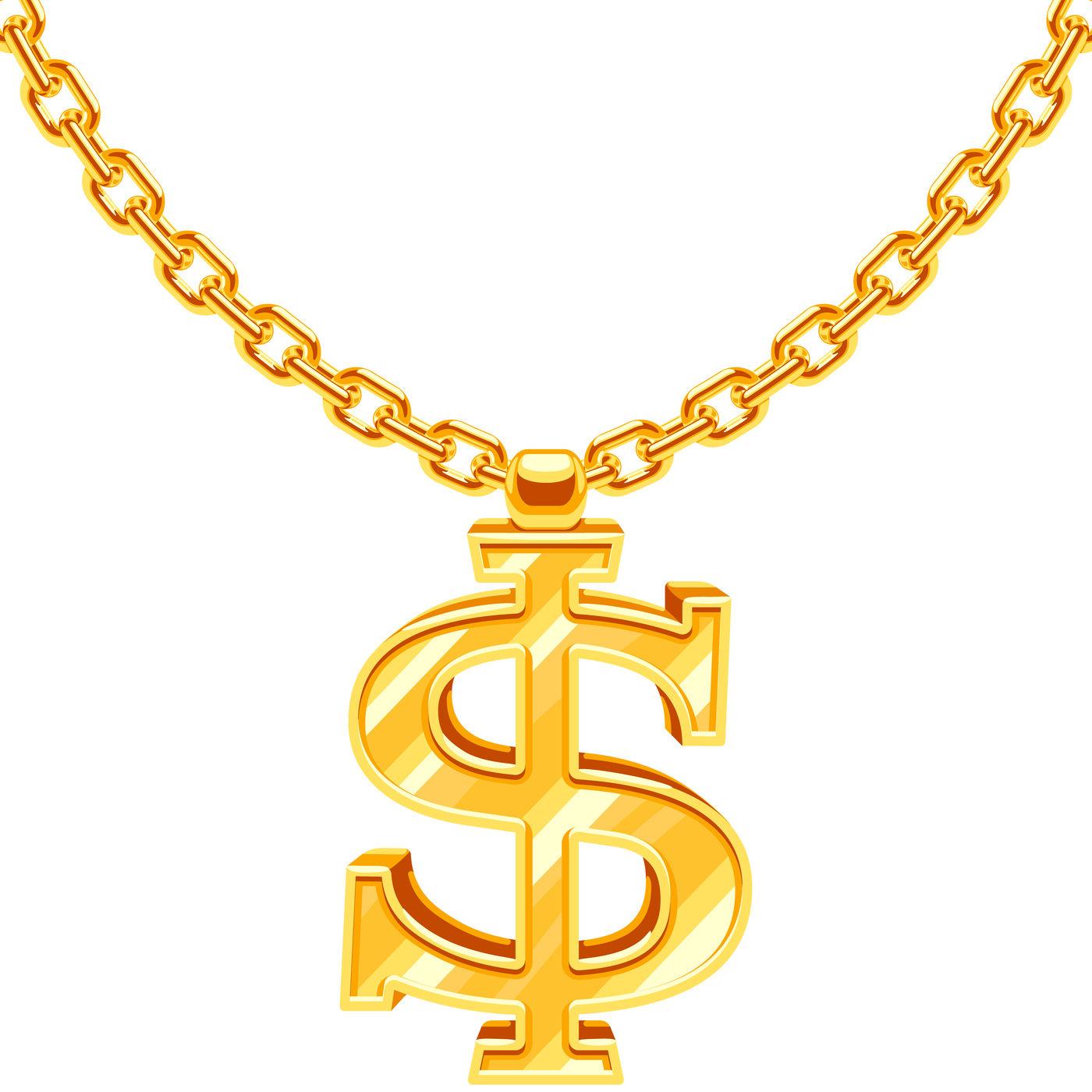Gold dollar symbol on golden chain vector hip hop rap style