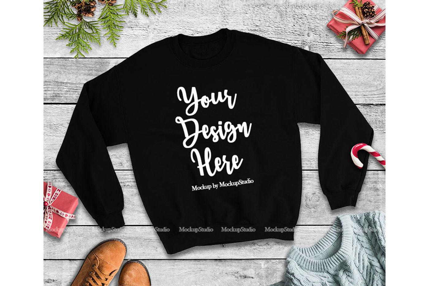 Christmas Winter Party Black Unisex Sweatshirt Mock Up By