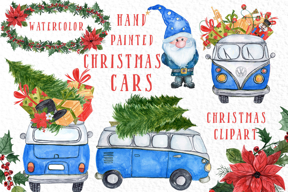 Watercolor Christmas Cars Clipart By Vivastarkids Thehungryjpeg Com