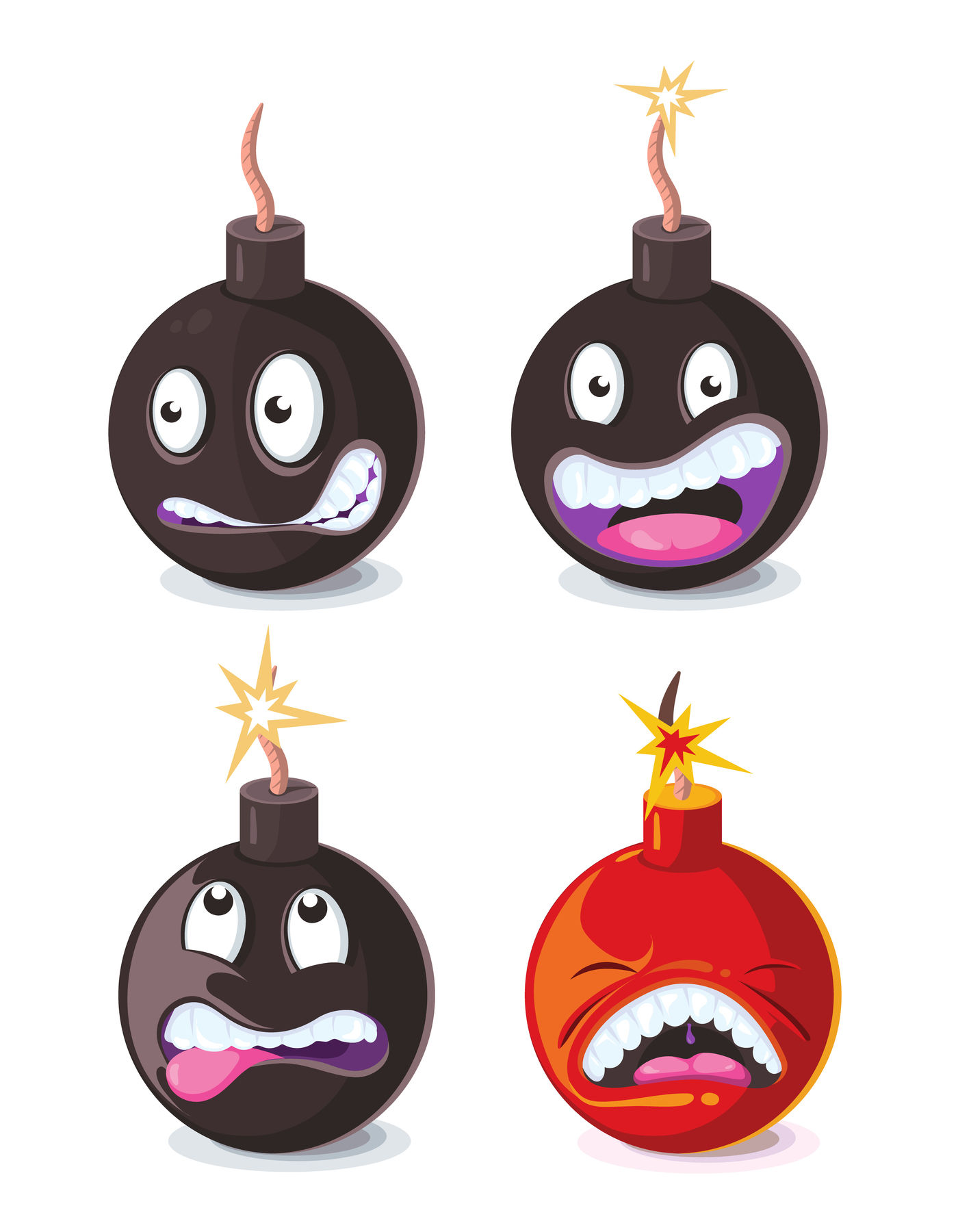 Funny Cartoon Wicked Bombs Emoji Vector Illustration By