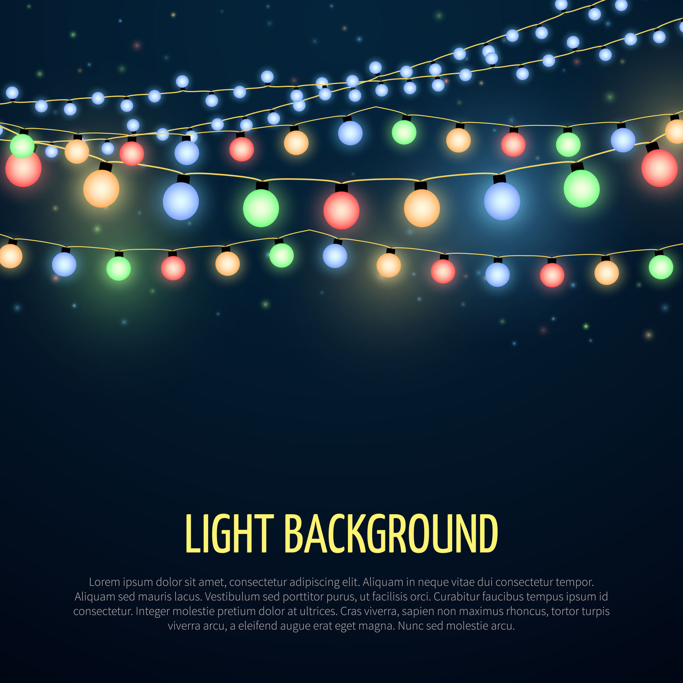 Abstract Vector Background With Christmas Garland Lamp Lights