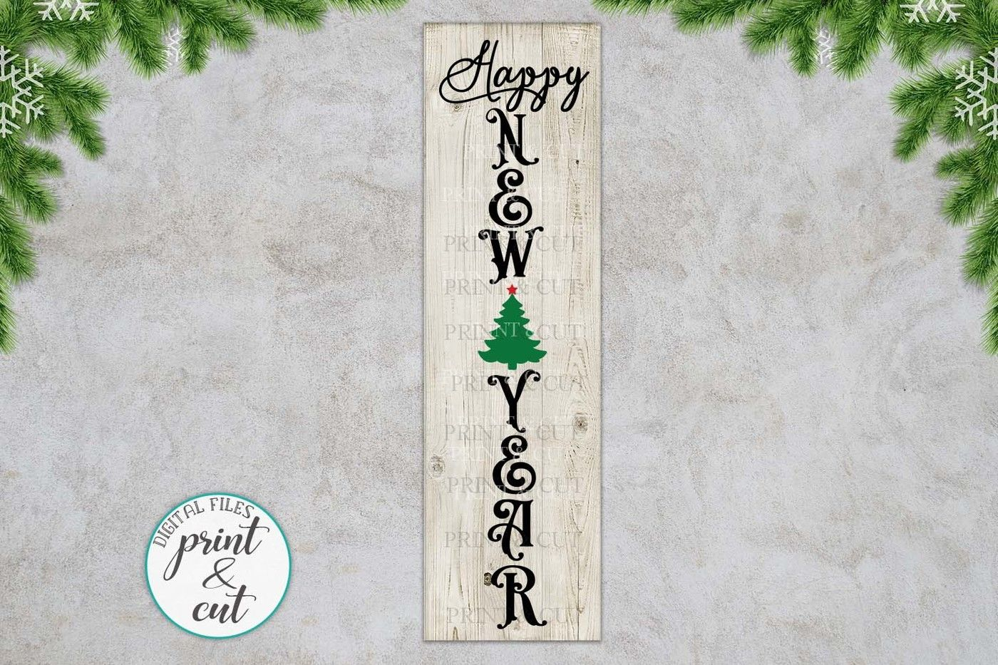 a8f3bcabbd29f Merry Christmas Happy New Year Believe bundle vertical sign By ...