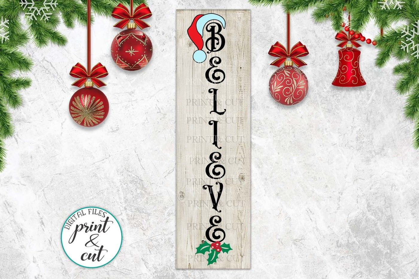 Merry Christmas Happy New Year Believe Bundle Vertical Sign By