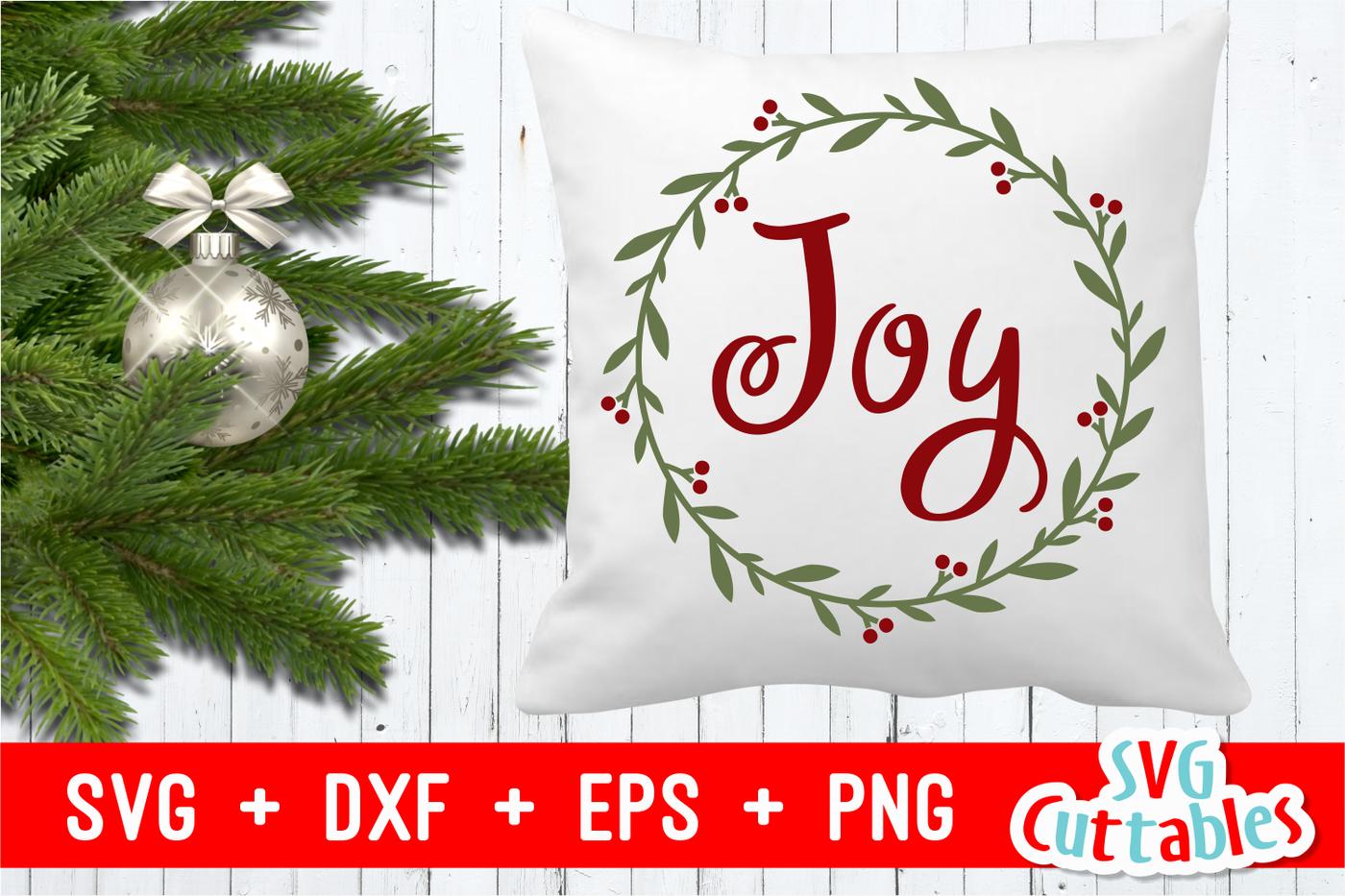 Joy Wreath Christmas Cut File By Svg Cuttables Thehungryjpeg Com